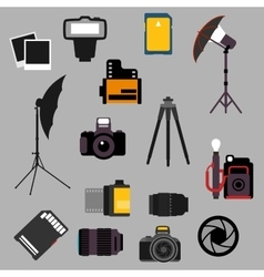 Photographic equipment and devices flat icons vector