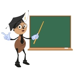 Ant teacher stands at blackboard vector image vector image