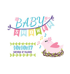 Baby shower badge happy mothers day logotype pink vector