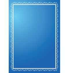 blue vertical frame with ornament vector image