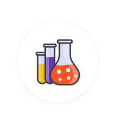 Chemistry icon lab glass test tubes vector