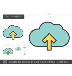 Cloud storage line icon vector image vector image