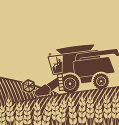 combine harvester in field vector image