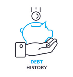 debt history concept outline icon linear sign vector image