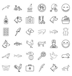 elephant icons set outline style vector image vector image