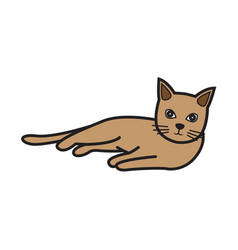 Flat color cat icon vector