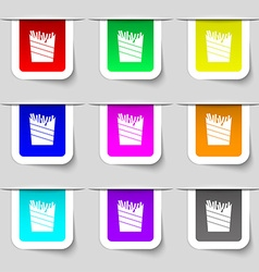 Fry icon sign set of multicolored modern labels vector