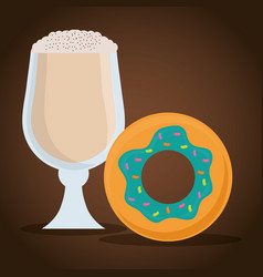 Glass cup coffee cold cream donut vector