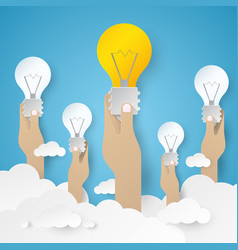 Hand holding light bulb idea concept vector