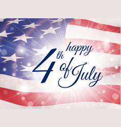 Happy fourth july poster with flying flag of usa vector