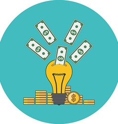 Investing into idea crowdfunding concept flat vector