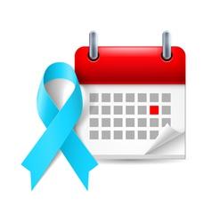 Light blue awareness ribbon and calendar vector