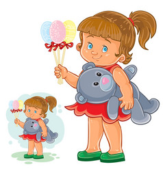 Little girl holding in one hand decorative vector