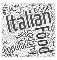 Popular italian food restaurants word cloud vector