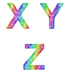 Rainbow sketch font set - letters x y z vector