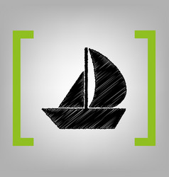 Sail boat sign black scribble icon in vector