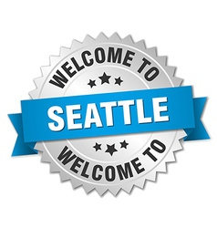 Seattle 3d silver badge with blue ribbon vector