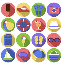 Set of circles icons flat travel objects vector