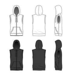 Sleeveless hoody with zipper vector