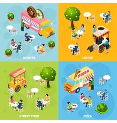 Street food isometric 4 icons square vector