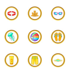 Summer adventures icons set cartoon style vector