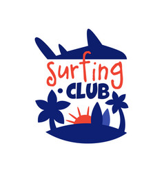 surfing club logo surf retro badge with palms vector image