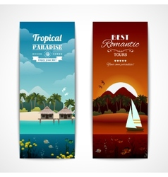 Tropical island vertical banners vector