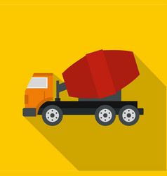 Truck concrete mixer icon flat style vector