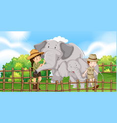 Two elephants and kids in the zoo vector