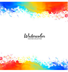 watercolor frame background in bright colors vector image
