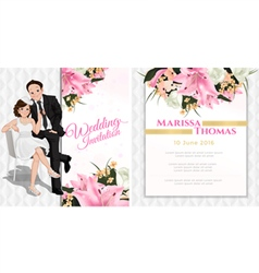 Wedding cartoon invitation card in luxury and mode vector