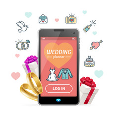 Wedding planner concept mobile phone app vector