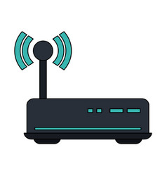 White background with wireless router vector