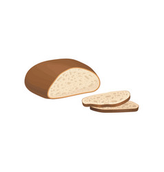 Whole loaf of gray bread with brown crust and vector