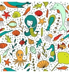 Seamless pattern marine life vector
