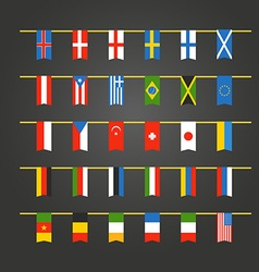 Different color flags of countries on rope vector