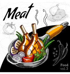 Grilled meat with vegetables in a hot pan vector