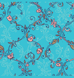 hand drawn trellis floral seamless pattern vector image