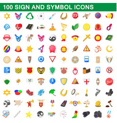 100 sign and symbol icons set cartoon style vector