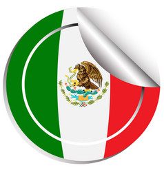 mexico flag in sticker design vector image