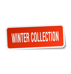 Winter collection square sticker on white vector