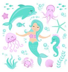 cute set little mermaid and underwater world vector image
