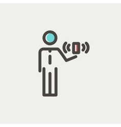 Man and wireless signal thin line icon vector