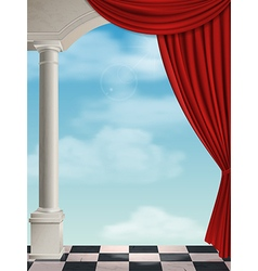 Arch with columns and curtain vector