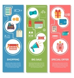 Three vertical banners with shopping icons in flat vector
