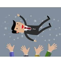 Businessman get thrown into the air vector