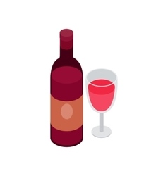 Glass and bottle of wine icon isometric 3d style vector