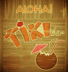 Retro design tiki bar menu on wooden background vector