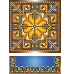 Ornament for the blue carpet vector image