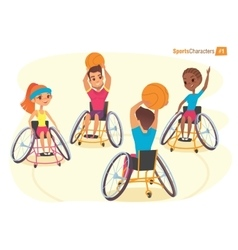 Handisport characters boys and girls in vector